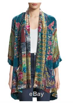 Johnny Was Biza Velvet Embroidery Kimono L