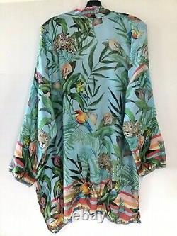 Johnny Was Hara Mixed Multi Color Print Silk Floral Animal Long Tunic XL NWT