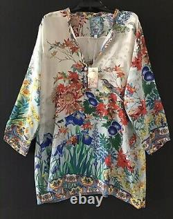 Johnny Was Madeira Mixed Multi Color Print Silk Floral Long Tunic Medium NWT