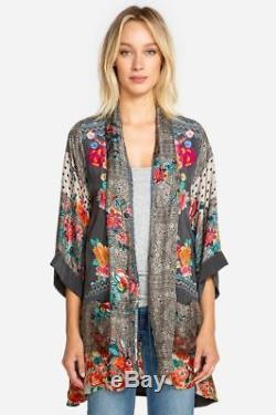 Johnny Was Samira frame Draped Kimono tie front Wrap multi color Silk M, L or xl