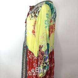 Johnny Was Seido Dress With Slip Size L Multicolor Maxi Floral Tie Front NEW NWT