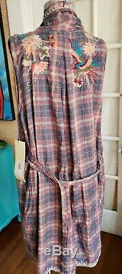 Johnny Was embroidered size L plaid birds long draped duster vest belted NWT