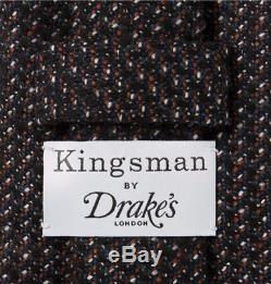 KINGSMAN + DRAKE'S STATESMAN 8CM NAILHEAD WOOL TIE multi color handmade London