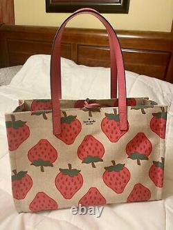 Kate Spade Strawberries strawberry Purse Canvas Sam Tote Bag Picnic Perfect