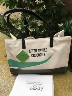 Kate Spade Swamped See You Later Alligator Canvas Mega-sam Tote, Nwt