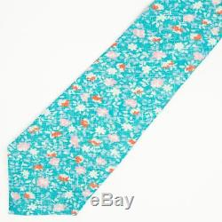 Kiton Napoli New Blue Green Lavender Pink Red Floral Linen Seven 7 Fold Tie 3.5