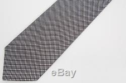 Kiton New Black Silver Gray Small Textured Dot 100% Silk 7 Seven Fold Tie 3 3/8