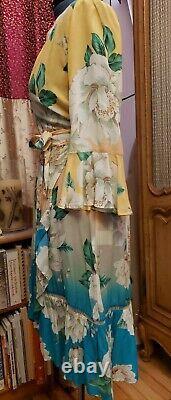 Ladies Farm Rio Sunset Wrap Dress Size Large Anthropologie USED Ruffle Sleeve