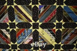Large COLORFUL Stars & Roman Stripe Antique Quilt Made From Vintage Neck Ties