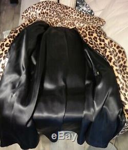 Leopard Vtg Dress Coat faux fur Trench Conv Collar Dbl Breast 60's Belt L XL VG
