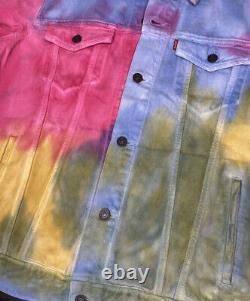 Levis Denim Jacket Trucker Jean Coat In Dead Head Tie Dye Retro Men Sz L NWT