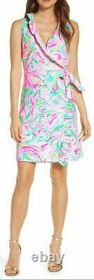 Lilly Pulitzer Romee Croc My World French Terry Jersey Ruffle Wrap Dress L