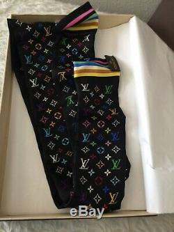 Louis Vuitton Monogram Black Multicolor Scarf Bandeau Tie Band 100% Silk