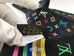 Louis Vuitton Monogram Black Multicolor Scarf Bandeau Tie Band 100% Silk 47x3