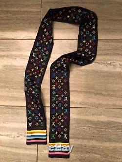 Louis Vuitton Monogram Black Multicolor Scarf Bandeau Tie Band 100% Silk RARE