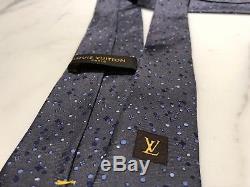 Louis Vuitton Tie 100% Silk Grey Blue With LV Logo Motif