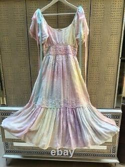 Love Shack Fancy Tie Die SILK Dress Size 4 Unicorn Loveshackfancy Small ANGIE
