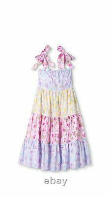 LoveShackFancy Margaux Tie-Strap Tiered Midi Dress