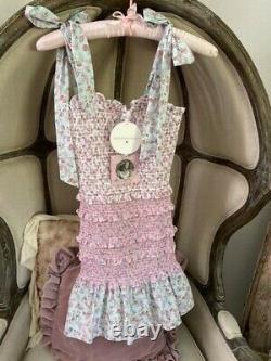 LoveShackFancy for Target Adeline Smocked Tie-Strap Dress XXS NWT