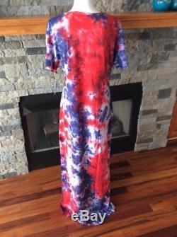 Lularoe (M) Medium Tie Dye Acid Wash Maria Maxi Dress Americana RARE NWT139