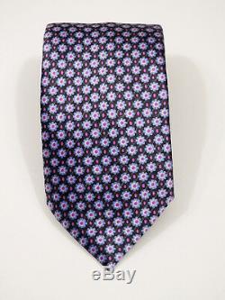 Luxury Current Brioni Micro Floral Italian Liquid Gloss Silk Tie 61.5 X 3.5