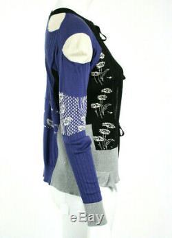MAISON MARGIELA Multi-Color Cashmere Blend Tie-Front Cardigan Sweater S