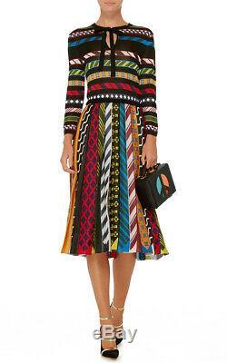 MARY KATRANTZOU NWT $1320 Faye Multicolor Stripe Tie Jacquard Knit Midi Dress XS