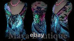 MAYA MATAZARO Burnout Velvet Piano Shawl Wrap Scarf Tie Dye Navy