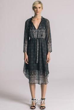 MISA LA Roselyn L/S Tie Waist Printed Ruffle Boho Midi Dress Black S $280 B3