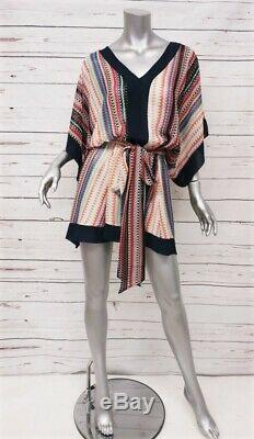 MISA Mini Dress Multicolor Printed Viscose Size Extra Small Tie-Waist V-Neck NEW