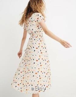 Madewell NWT Tie-Waist Midi Dress in Terrazzo, L8531, 4