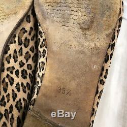 Manolo Blahnik Leopard Print Ballet Flats Bow Tie Women's Sz. 38.5