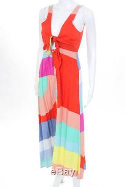 Mara Hoffman Multicolored Colorblock Tie Midi Dress Size 8 $365 10647574