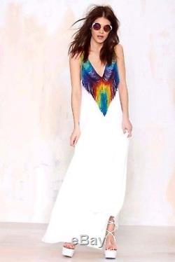 Mara Hoffman Rainbow Fringe Do or Tie Dye Runway Long Maxi Gown 8 10 12 Large