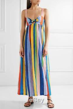Mara Hoffman Striped Front Tie Multicolor Organic Linen Maxi Dress NWT SZ 0
