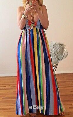 Mara Hoffman rainbow striped tie front maxi NWT SIZE 2
