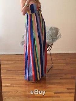 Mara Hoffman rainbow striped tie front maxi NWT SIZE 6