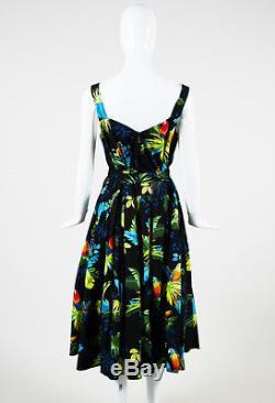 Marc Jacobs Black Multicolor Cotton Blend Printed Tie Waist Midi Dress SZ 6