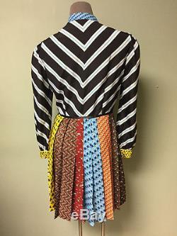 Mary Katrantzou NEW Knight Tie Neck Puffed Shoulder Animal Chevron Print Dress 4