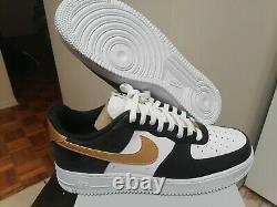 Men's Nike Air Force 1'07 Shoes Black Metallic Gold CZ9189 001 Size 12