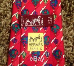 Men's Rare Vintage Designer Hermès Novelty Necktie, Red/Multicolor, All Silk