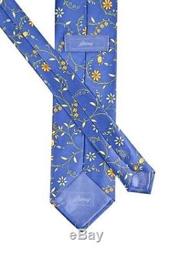 Mens BRIONI Italy Blue Floral 3.25 Silk Tie Pocket Square Handkerchief Set NWT
