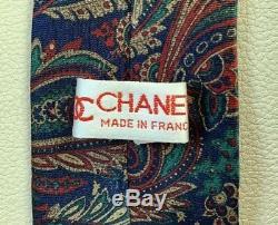 Mens Rare Vintage Designer 70s Chanel Paris Multicolor Paisley Silk Tie France