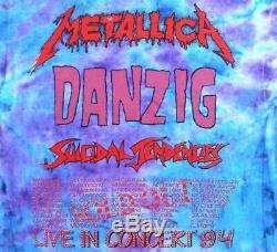 Metallica Vintage T Shirt 1990's 1994 Concert Tour Pushead Eagle Tie Dye XL