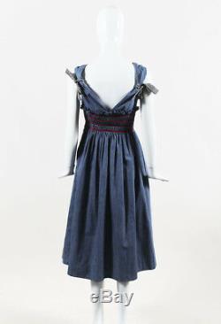 Miu Miu NWT Azzurro Blue Multicolor Denim Gingham Tie Flared Dress SZ 40