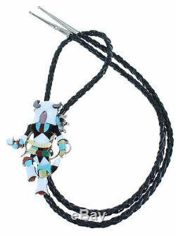 Multicolor Zuni Kachina Figure Authentic Sterling Silver Bolo Tie RX101877