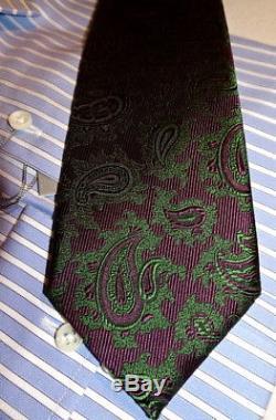 NEW $235 men BRIONI ITALY HANDMADE SILK TIE VIBRANT PlumPurple Green PAISLEY b55