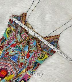 NEW Camilla Close To My Heart Silk Maxi Dress Crystal Studs Tie Front Sz S