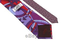 NEW Gianni Versace Men's 100% Silk Neck-tie Multi-Color Purple/Red Stars-Circles