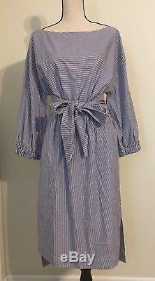 NEW JCREW Striped Boatneck Dress With Tie Size14 Navy/White Stripe H7696 SP18